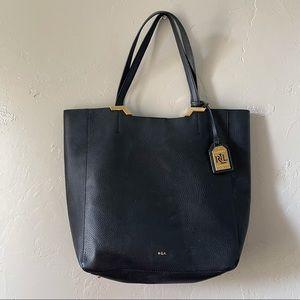 Lauren by RL | black shoulder tote laptop bag
